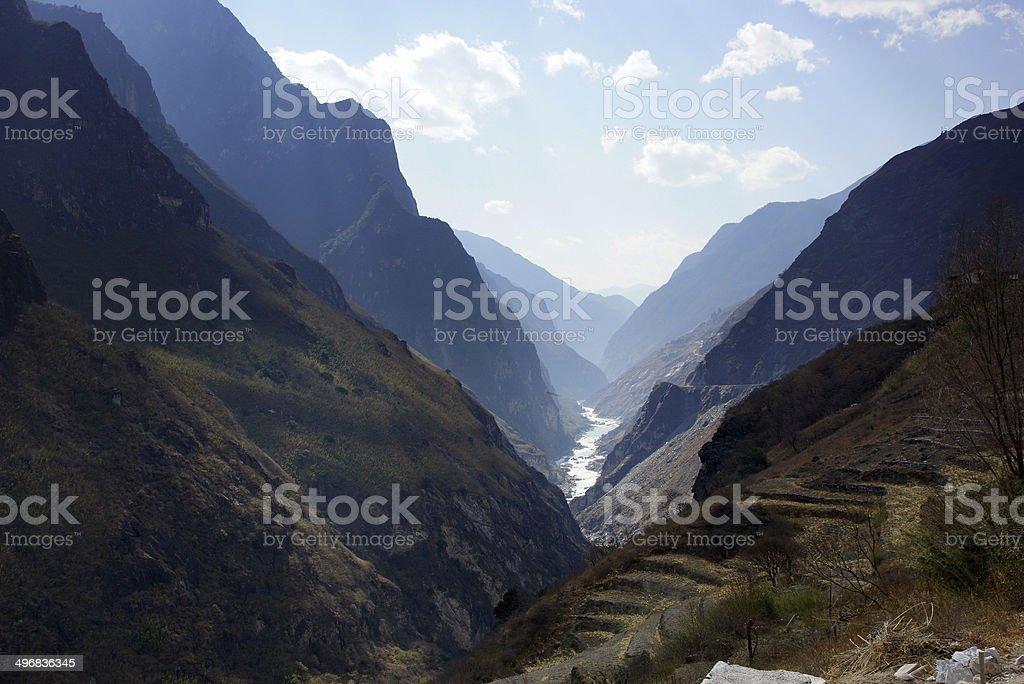 Tiger Leaping Gorge (hutiaoxia) near Lijiang, Yunnan Province, China royalty-free stock photo