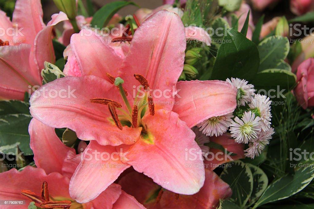 Tiger Lily wedding arrangement stock photo