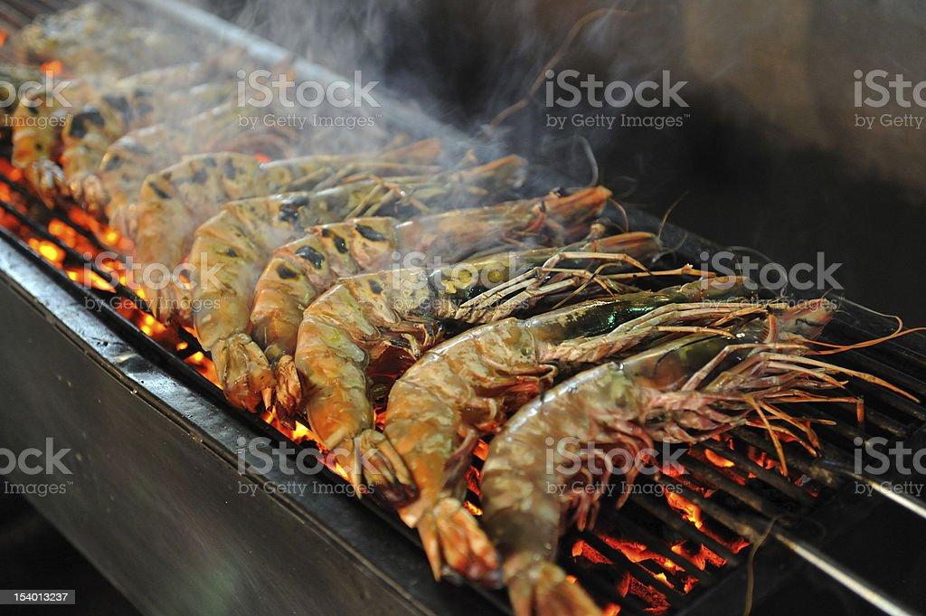 Tiger prawn barbecue stock photo