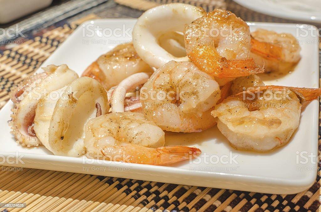 Tiger prawns and squid teppanyaki royalty-free stock photo
