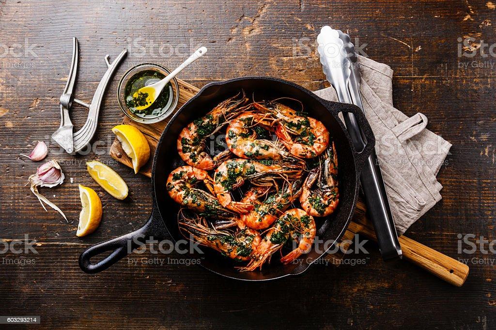 Tiger prawns roasted on frying pan stock photo