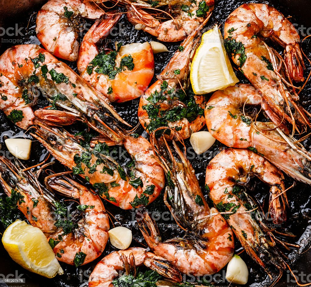 Tiger prawns roasted on pan close up stock photo