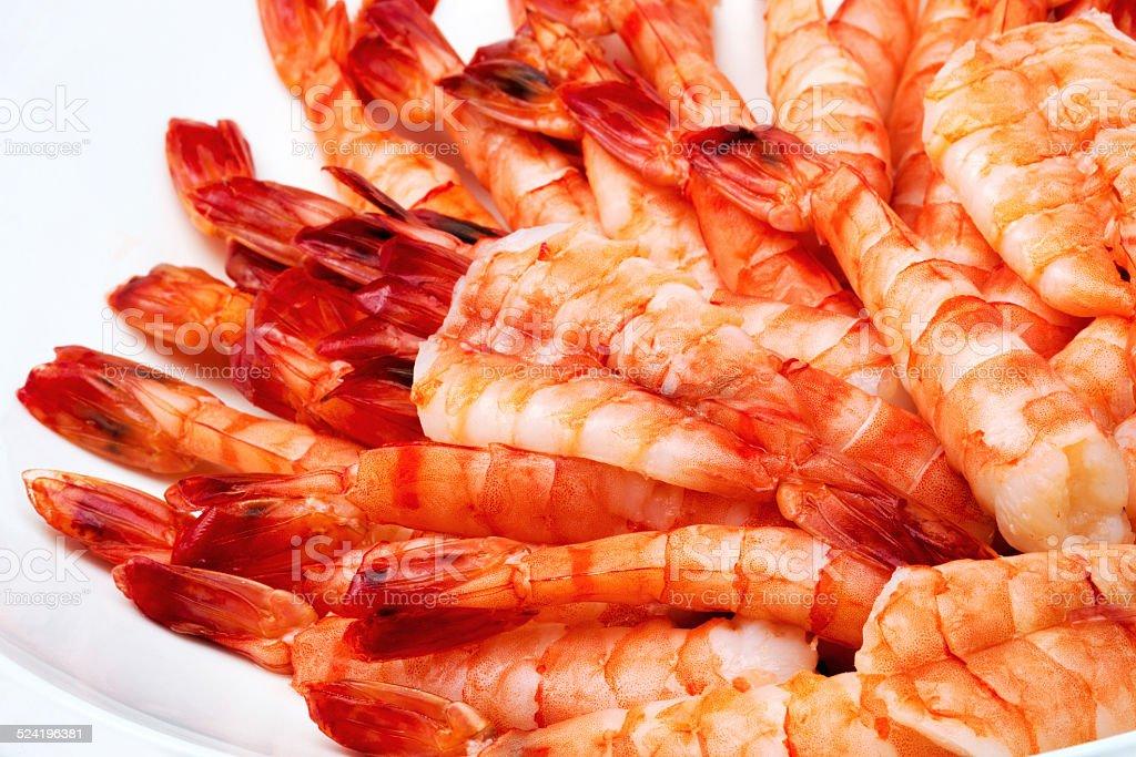tiger shrimps on white background stock photo