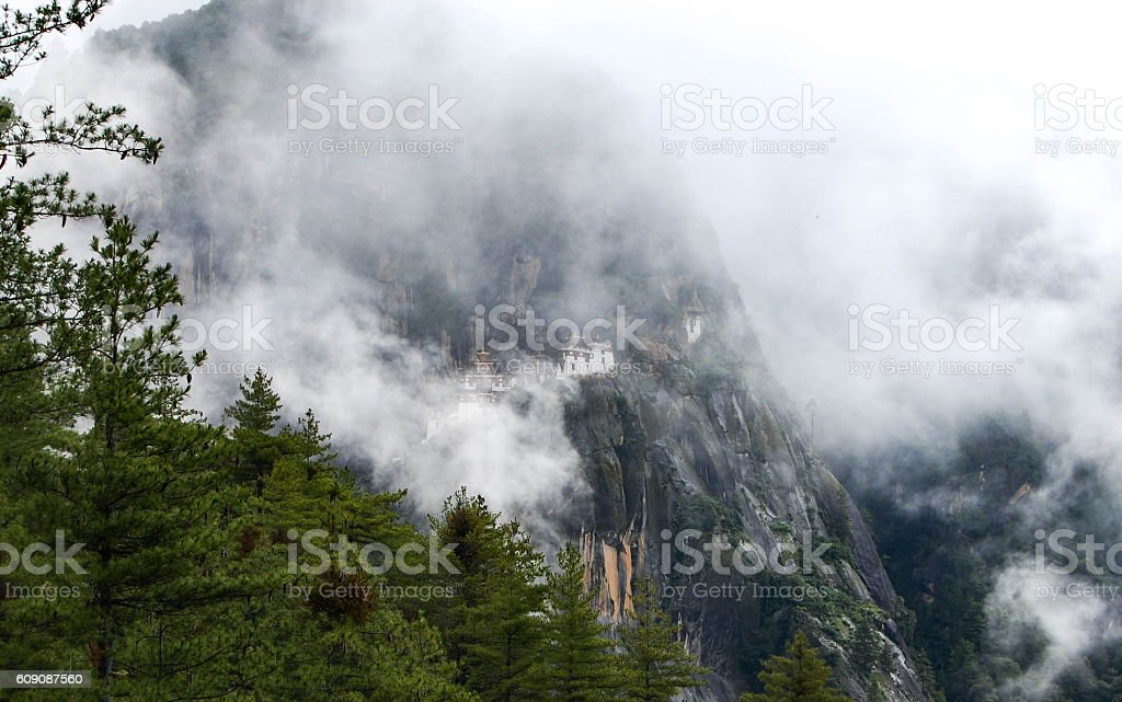 Tigers Nest in the clouds stock photo