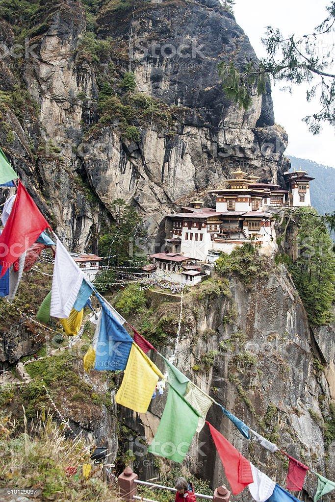 Tiger's Nest temple and prayer flags, Bhutan stock photo