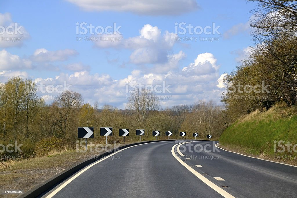 Tight bend in the road royalty-free stock photo