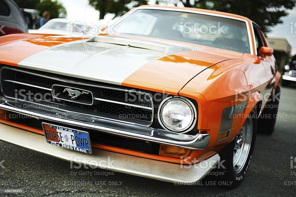 Tight front view of classic Ford Mustang royalty-free stock photo