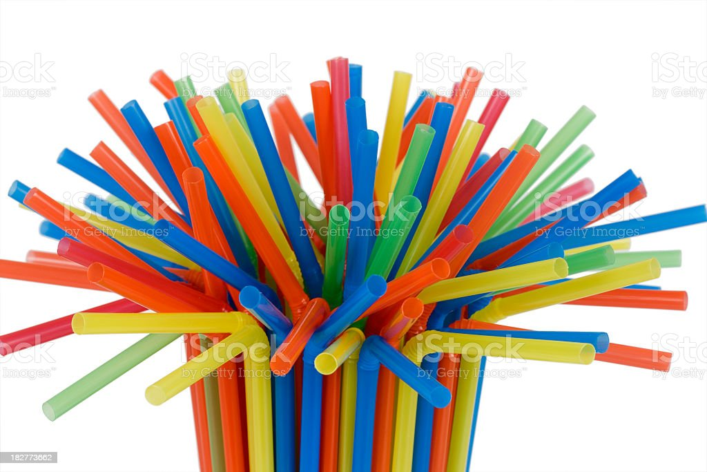 Tight grouping of colorful straws stock photo