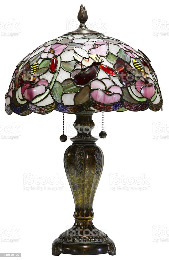 Tight shot of an antique Tiffany Glass Table Lamp  stock photo