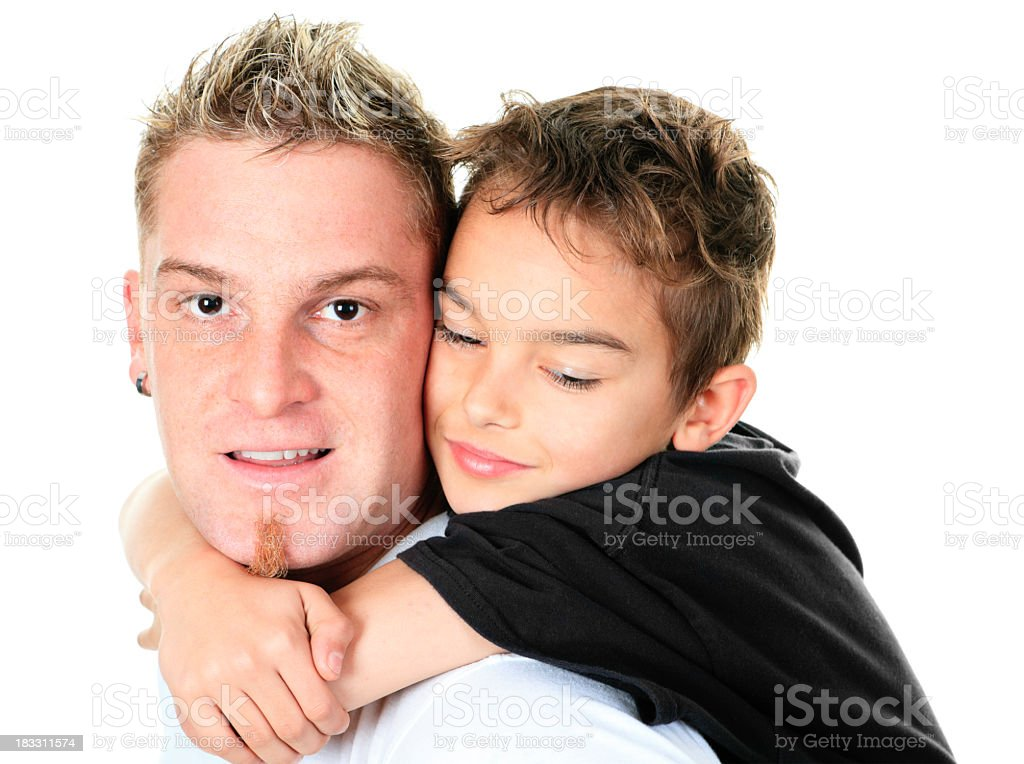Tighten Father and Son stock photo