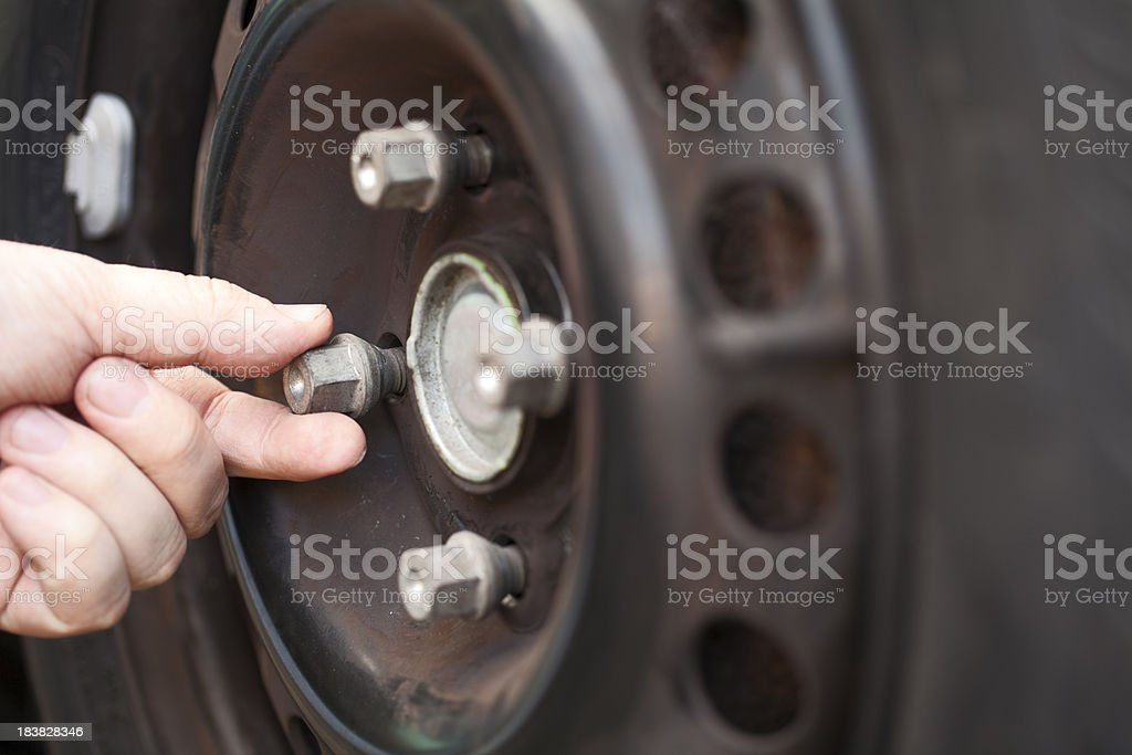 Tightening wheel bolts on car stock photo