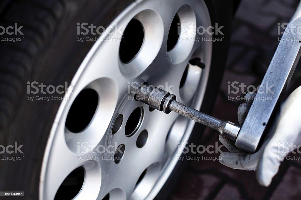 Tightening wheel nuts stock photo