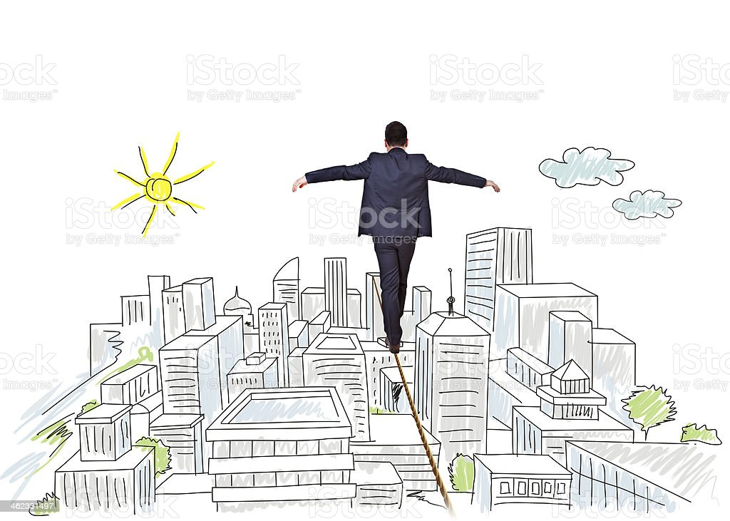 tightrope businessman stock photo