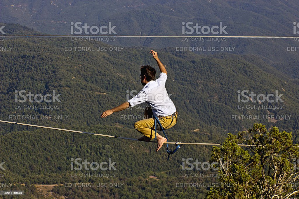 Tightrope walker stock photo