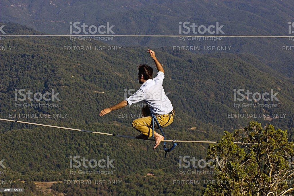 Tightrope walker stock photo