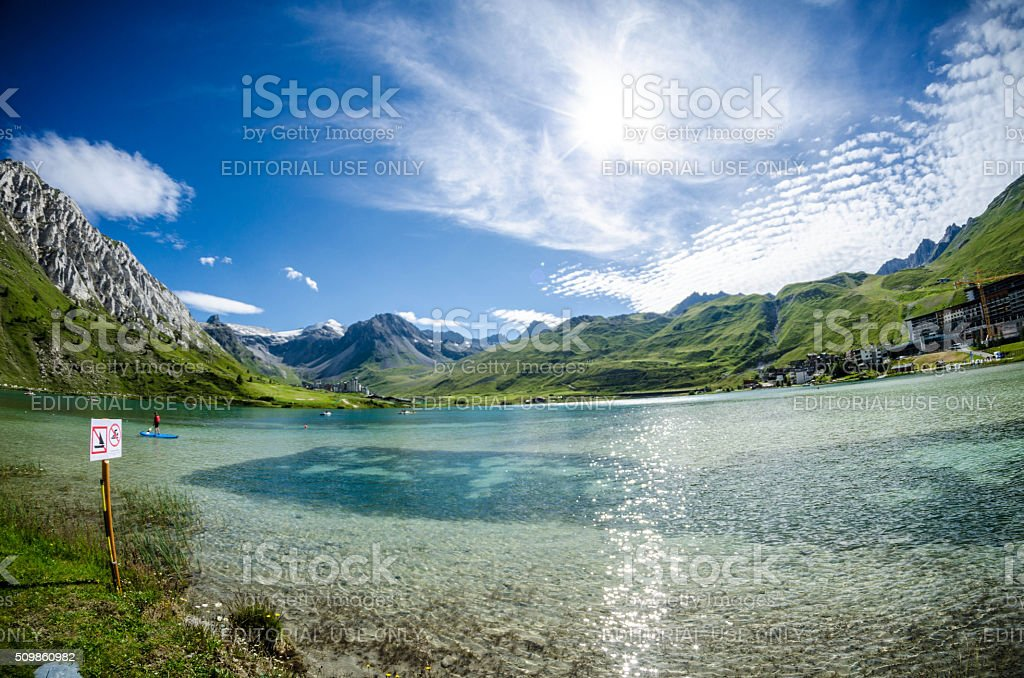 Tignes Lake - water sports stock photo