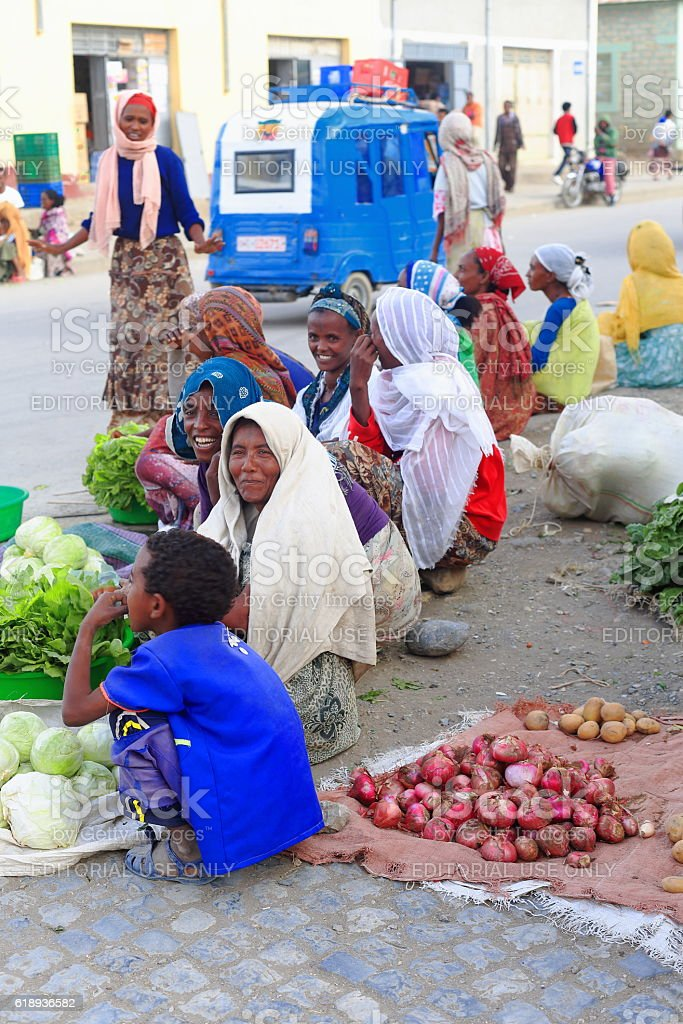 Tigrayan women sell vegetables on the sidewalk, Mekelle-Ethiopia. 0449 stock photo