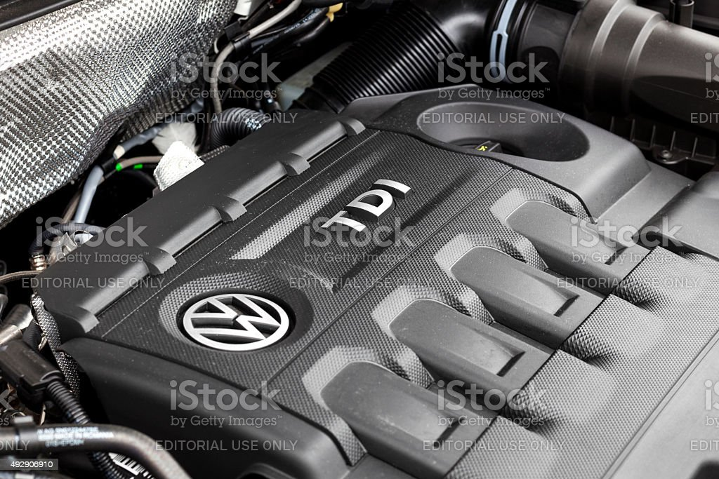 VW Tiguan TDI engine bay stock photo