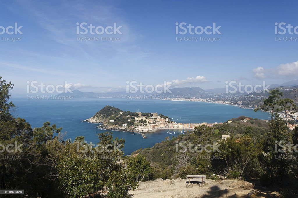 Tigullio Gulf with Sestri Levante, Italy stock photo