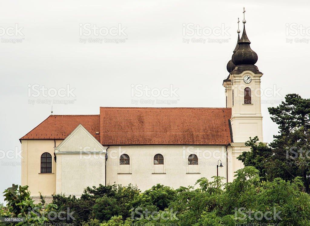 Tihany Abbey is a Benedictine monastery established at Tihany stock photo