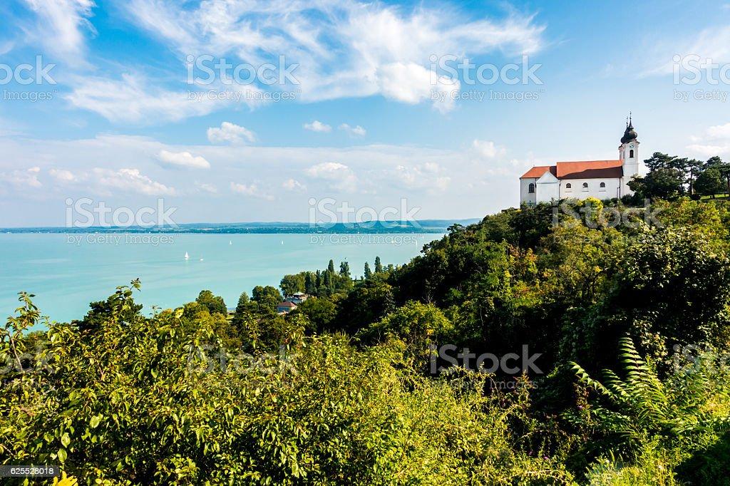 tihany tree sky blue church hungary Magyarország balaton panorama stock photo