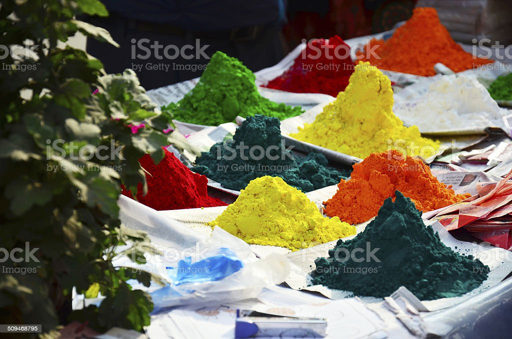 Tika Color powder for Tihar Deepawali festival and Holi Festival stock photo