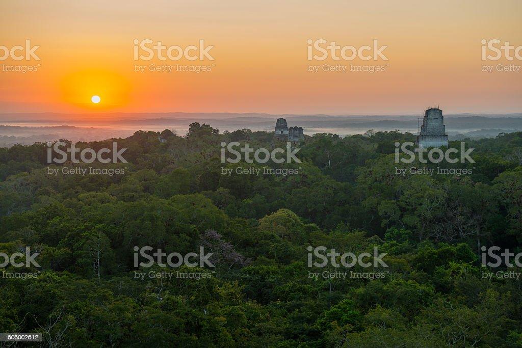Tikal Sunrise stock photo