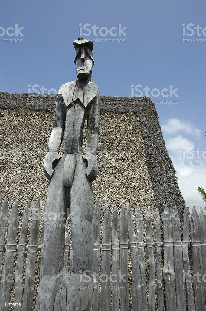 Tiki Idol carved on wood. royalty-free stock photo