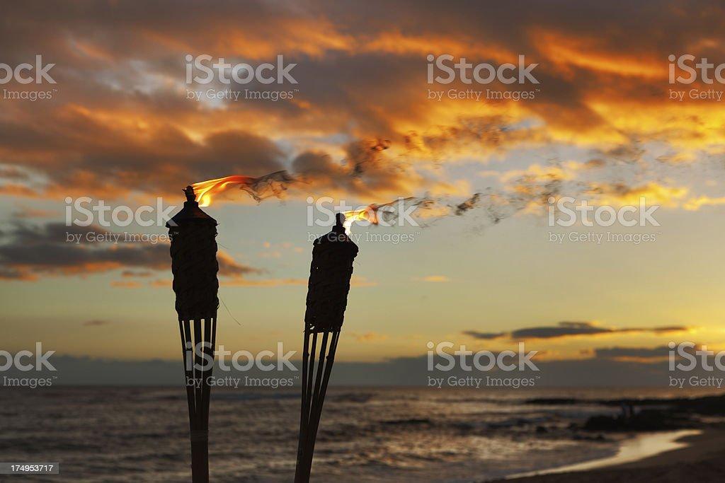 Tiki Lamp on the Beach of Hawaii royalty-free stock photo