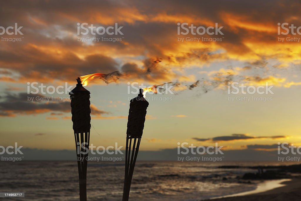 Tiki Lamp on the Beach of Hawaii stock photo