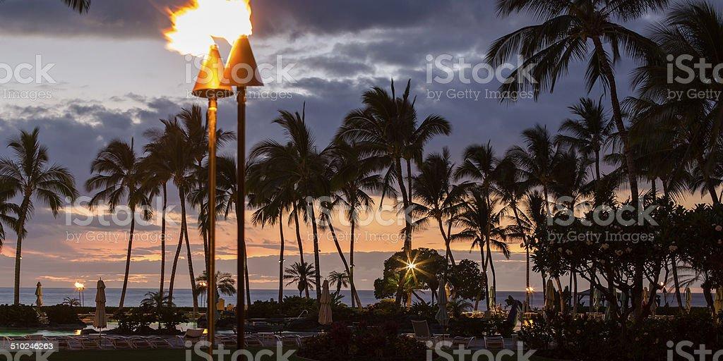 Tiki Lamps stock photo