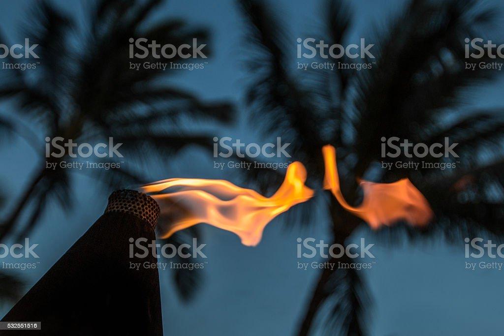 Tiki Torch: An Evening On the Beach stock photo