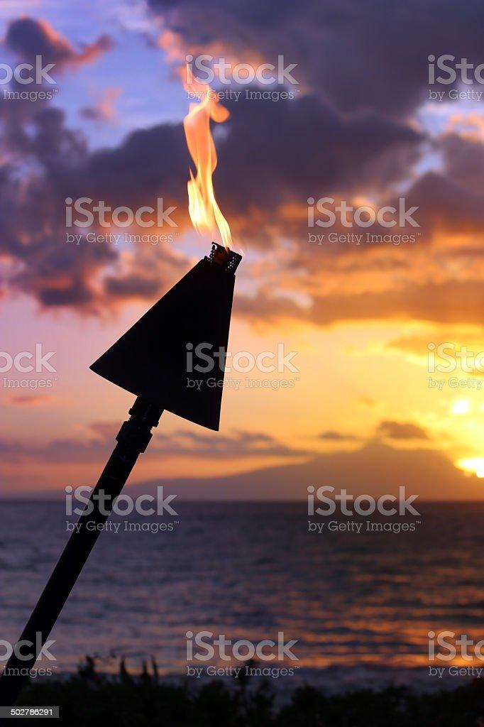 Tiki Torch at Sunset - Maui, Hawaii stock photo