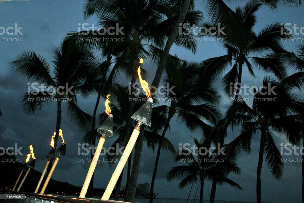 Tiki Torch Light in Waikiki. Hawaii Islands. stock photo