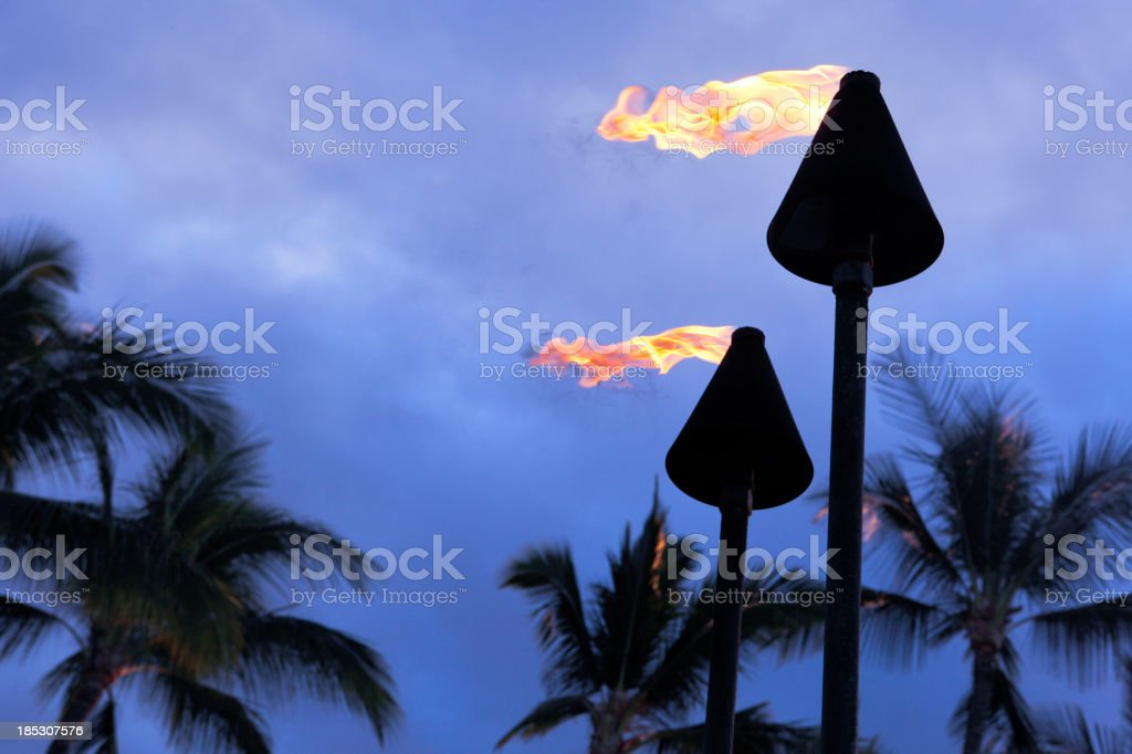 Tiki Torches stock photo