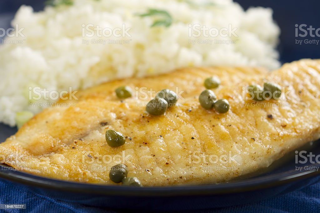 Tilapia and Lemon-Caper Sauce royalty-free stock photo