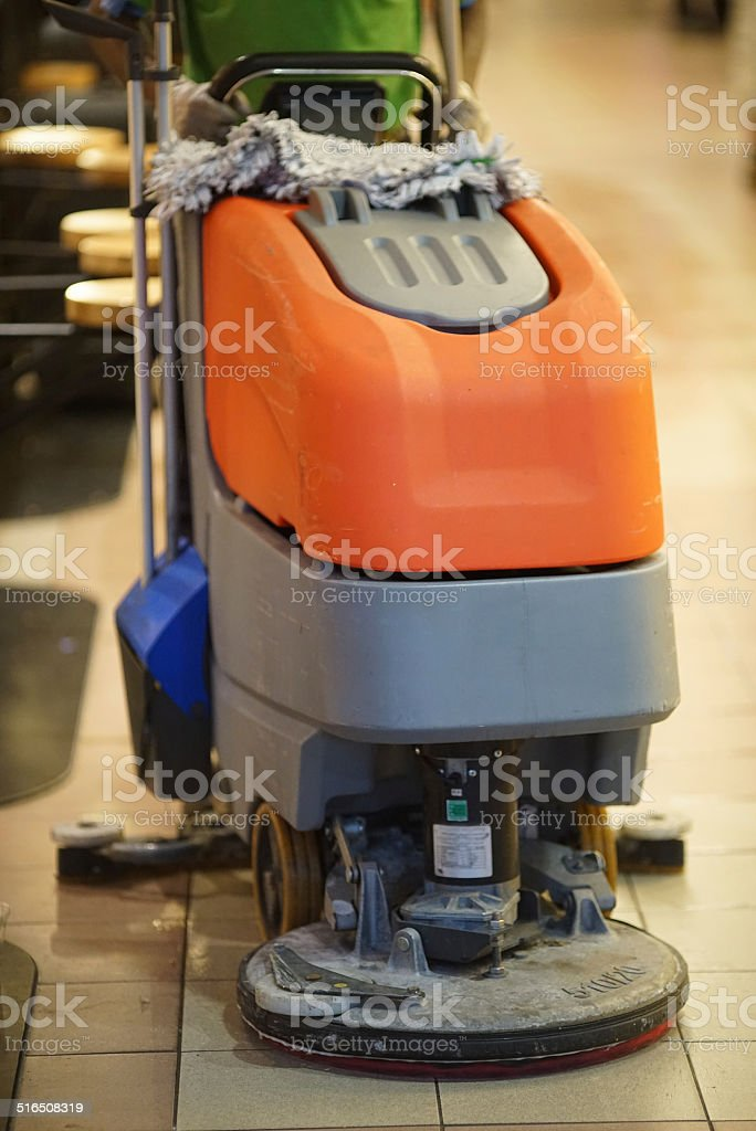 Tile Cleaning machine in restaurant stock photo