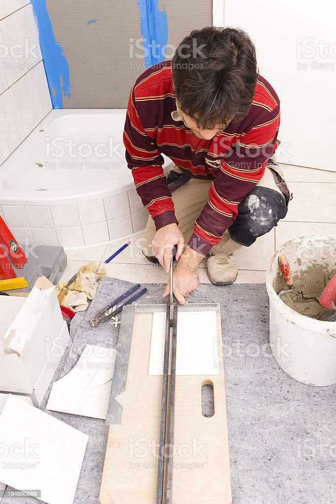 Tile Cutting royalty-free stock photo