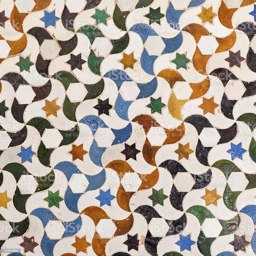 Tile decoration, Alhambra palace, Spain royalty-free stock photo
