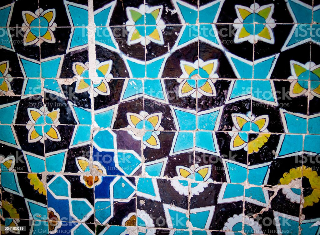Tile detail from Shrine, Mazar-i-Sharif stock photo