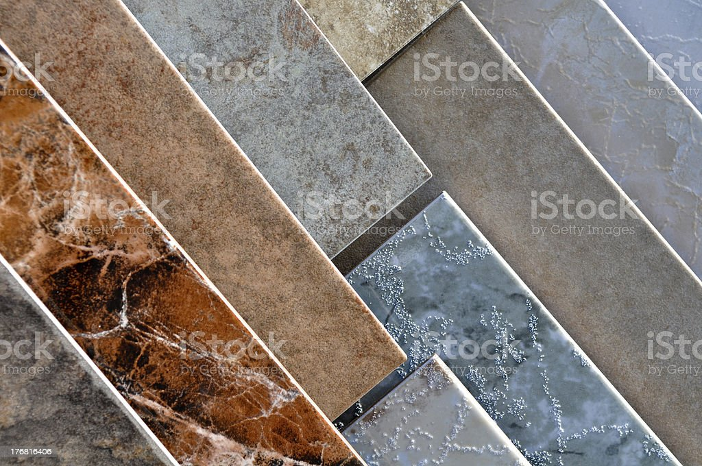 Tile flooring samples on display stock photo