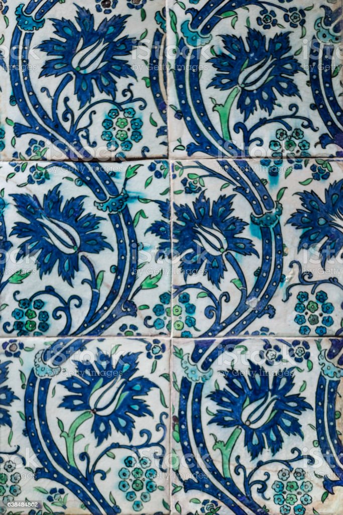 Tile from damascus 16th century. stock photo