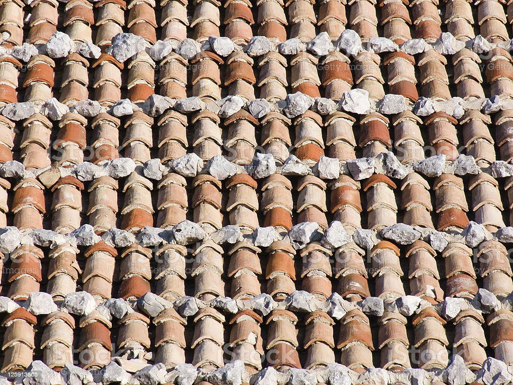 Tile lines in a rustic European roof royalty-free stock photo