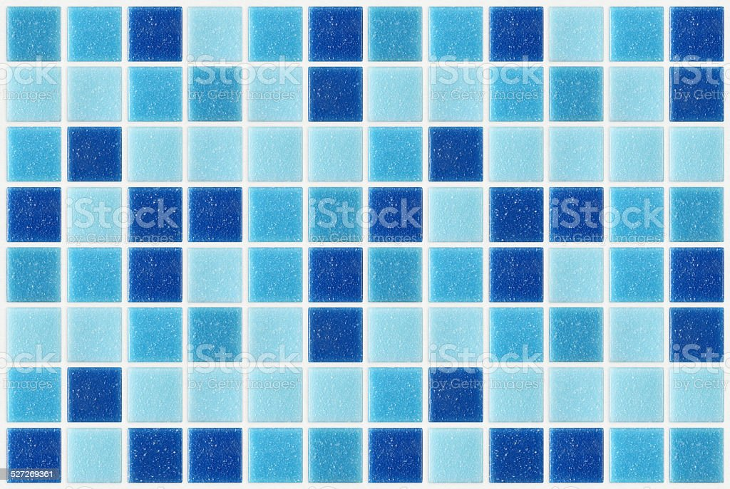 tile mosaic square blue texture background decorated with glitte stock photo