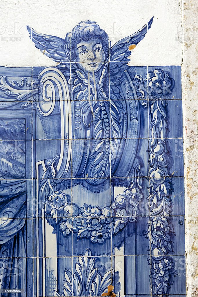 Tile of Angel in Lisbon Portugal royalty-free stock photo