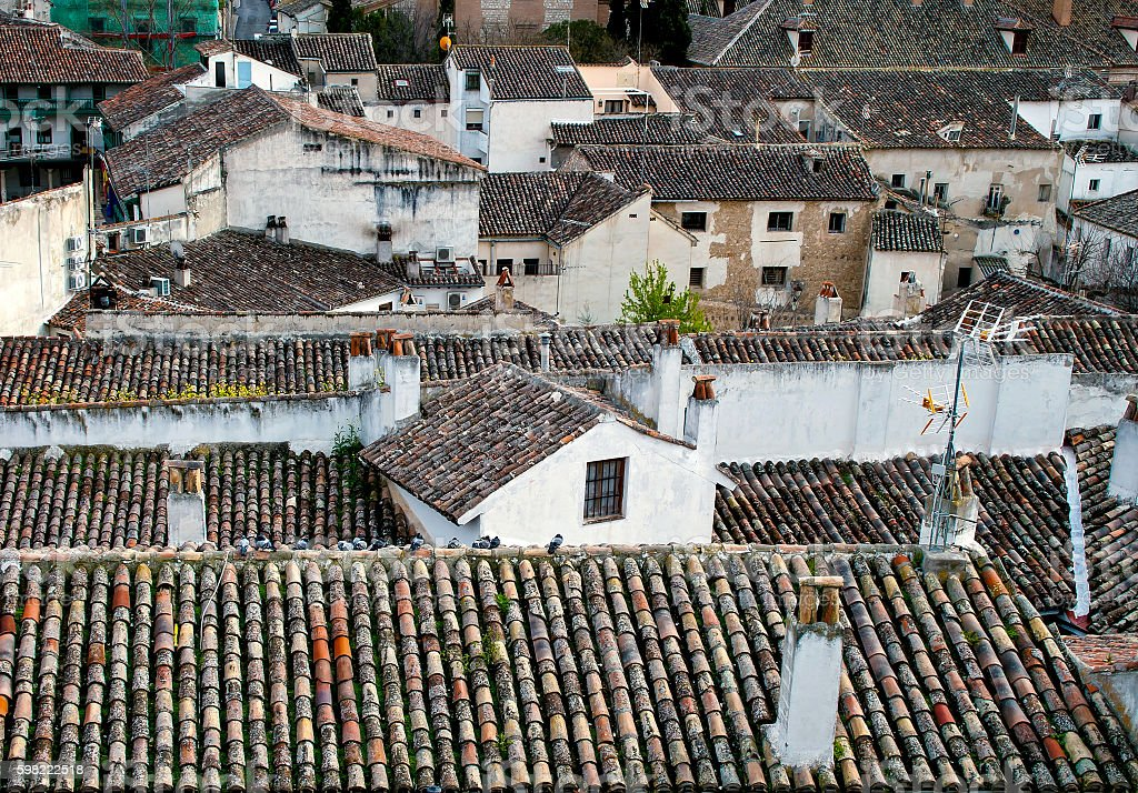 Tile roof of old town stock photo
