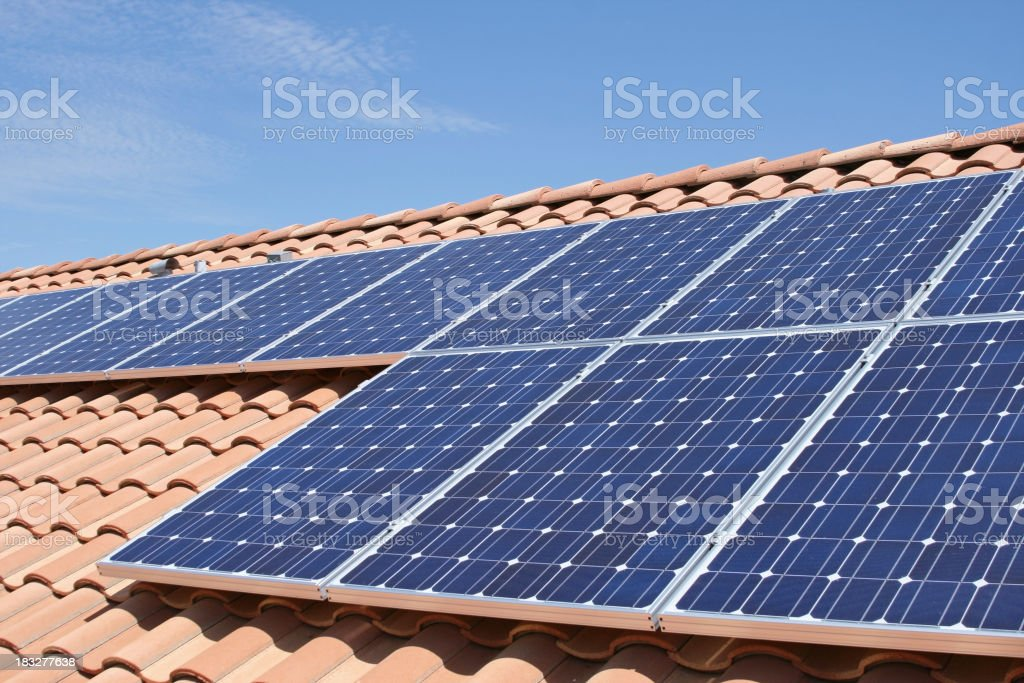 Tile Roof Solar royalty-free stock photo