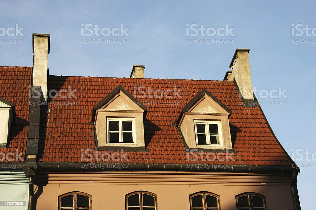 tile roof with windows stock photo