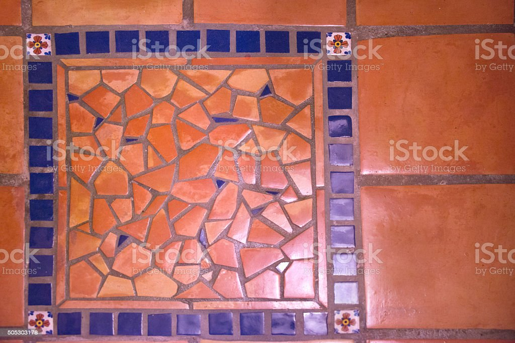 Tile Rug Mosaic Background, Mexican Ceramic stock photo