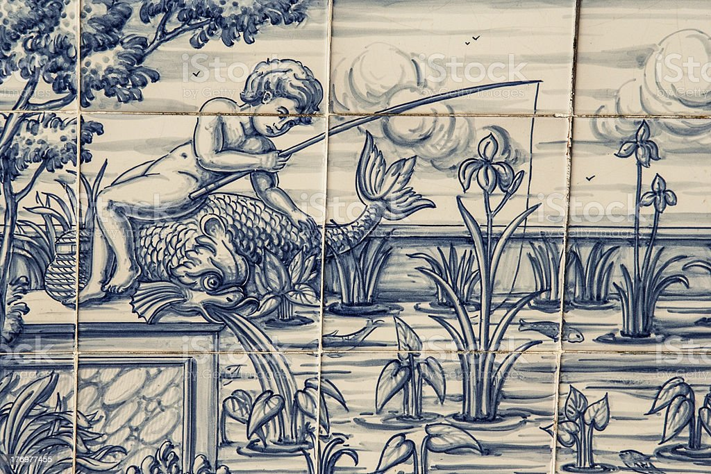 Tile, Talavera, painting, fisherman in the pond stock photo